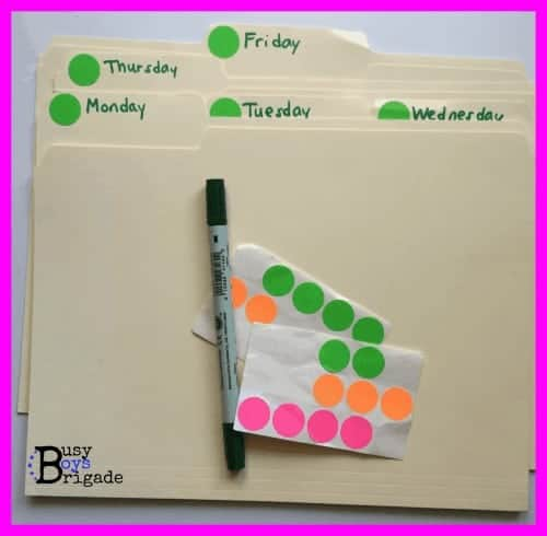 A closer look at materials used to plan your homeschool with daily folder system.