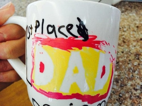 1st Place Dad-one of my boys' mugs for Daddy. Made using DIY frugal tips on this DIY fun for kids.