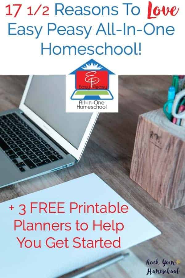 Do you want to homeschool but your budget is tight? Check out this FREE online homeschool option! Here are 17 1/2 Reasons to Love Easy Peasy All-in-One Homeschool. Includes 3 FREE printable planners to eh