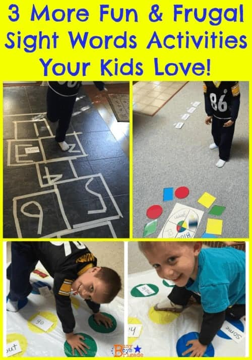 3 more fun & frugal sight words activities your kids will love!  Twister, hopscotch, and bean bag toss for excellent kinesthetic ways for early readers to learn & practice sight words.