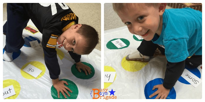Sight words activities like Twister can be an excellent and fun way for early readers to learn sight words.