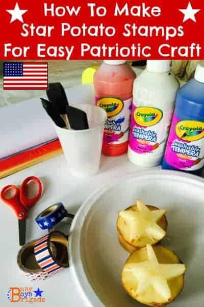 Learn how to make star potato stamps for fun & easy patriotic craft with kids.