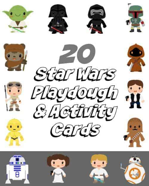 Get your FREE 20 Star Wars Playdough & Activity Cards for family learning fun.