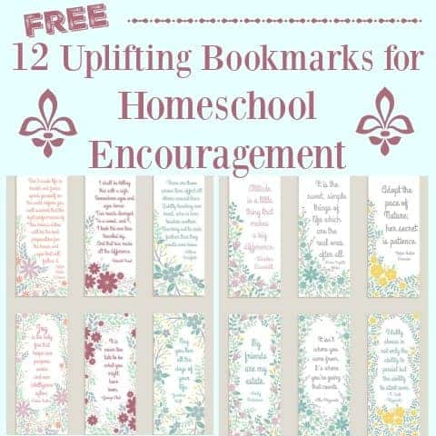 Get your 12 free uplifting bookmarks for homeschool encouragement. Filled with inspirational quotes, these bookmarks are a great way to bring a boost to your homeschool day.