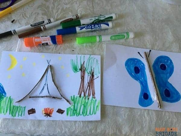 Sticks can be used as a focal point in art projects for hands on learning fun.
