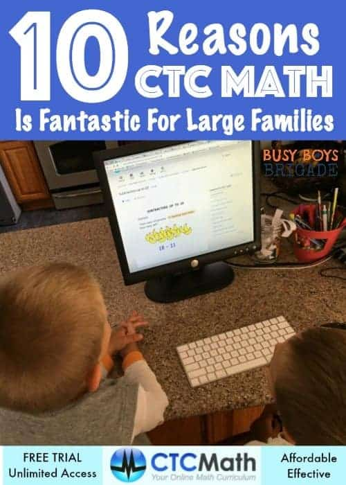 Read our 10 Reasons CTC Math Is Fantastic For Large Families. This online math program is an affordable & effective way to provide quality math education for your kids.