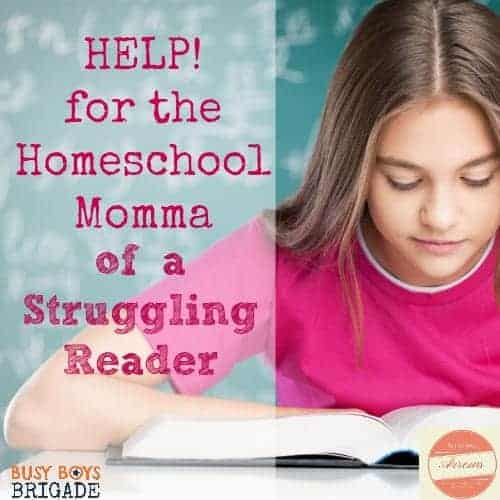 Help! for the homeschool mom of a struggling reader by Melissa of Soaring Arrows is part of 20 Days of Homeschooling Encouragement Blog Party.