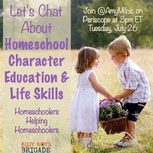 Let's chat about homeschool character education & life skills is part of a Periscope & blog series dedicated to homeschoolers helping homeschoolers.