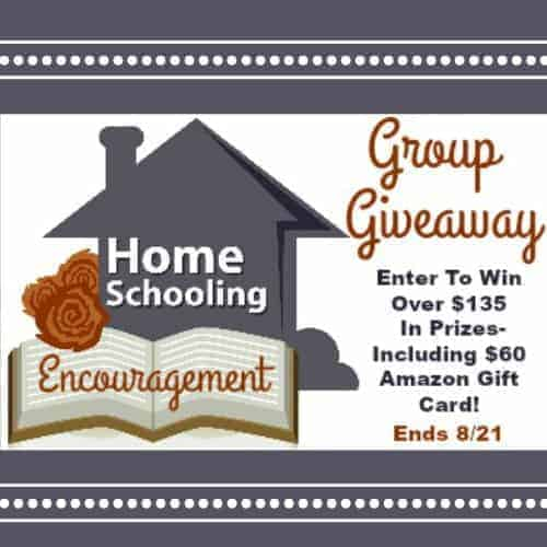 Enter to win over $135 in prizes in Homeschooling Encouragement Group Giveaway!