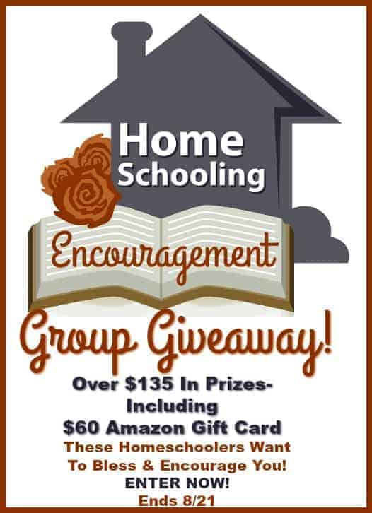 Homeschooling Encouragement Group Giveaway has over $135 in prizes, including an Amazon gift card! Let these homeschoolers bless & encourage you. Giveaway ends 8/21.