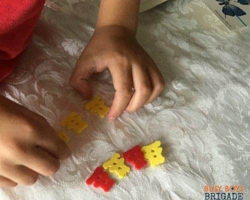 Teach your child patterns using buttons for hands-on learning fun.