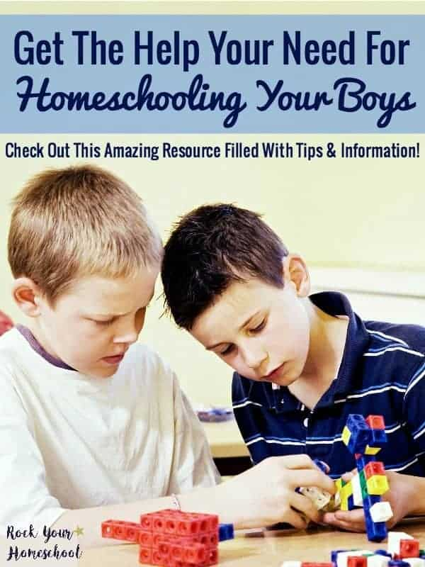 Do you have questions or concerns about homeschooling your boys? The Ultimate Guide To Homeschooling Boys can help! This resource is filled with valuable information and tips on how you can rock your homeschool-with boys!