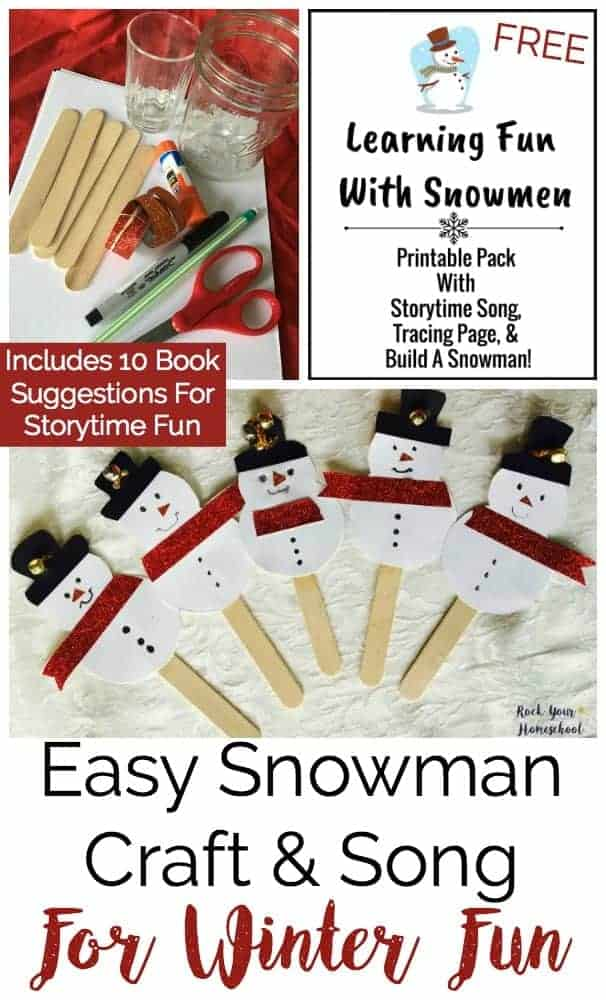 Here is an adorable & easy snowman craft & song to do with your kids this winter! Great activity for including art, music, reading, & basic math. Includes FREE printable pack to extend the learning fun with snowmen! Find this and other learning resources at rockyourhomeschool.net