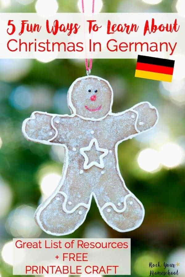 Join our Christmas Around The World learning celebration! Check out these 5 fun ways to learn about Christmas in Germany. Includes list of amazing resources & free printables. Don't forget to grab your FREE PRINTABLE Christmas ornament craft. Find more resources for learning fun at http://www.rockyourhomeschool