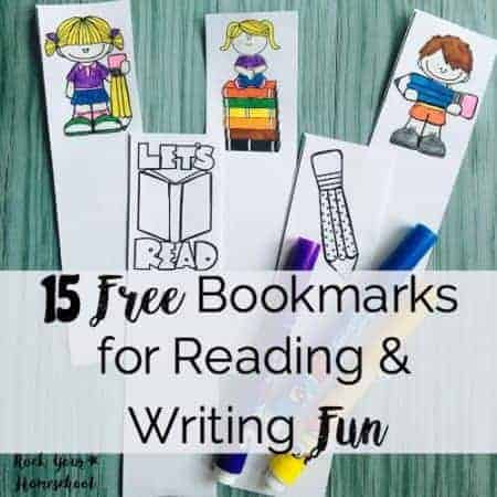 15 Free Bookmarks for Reading & Writing Fun square