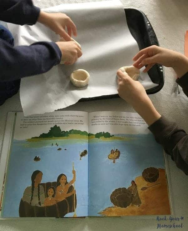 Salt dough pinch pots are a fun activity for hands-on learning with these history kids books.