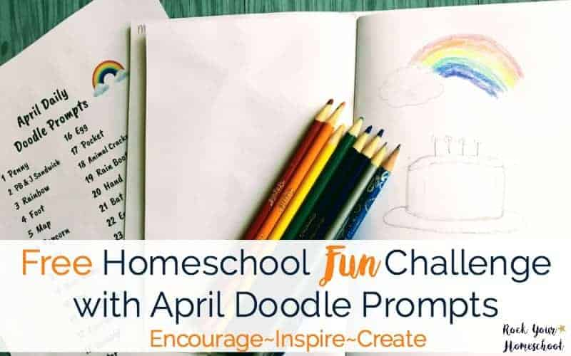 Get in on the fun! Join our homeschool fun challenge with free printable April Doodle Prompts. Encourage, inspire, & create with your kids!
