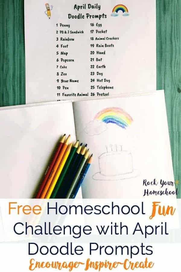 Want an easy way to encourage, inspire, & create with your kids? Join our homeschool fun challenge & use these FREE April doodle prompts. Instant download (click & print) so you can immediately get started with doodling fun!